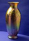 Large Quezal Silver overlay Vase C.1900