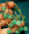 Cool GP GREEN GLASS BEAD BRACELET c1950s