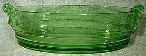 Rare FOSTORIA MANOR #2443 ETCH 286 GREEN GLASS BOWL