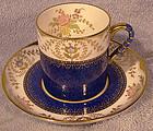 Spode REGENT Y3963 BLUE DEMITASSE CUP & SAUCER