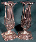 Pair Ornate STERLING BUD VASES - BIRMINGHAM 1901-02