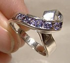 14K TANZANITES WHITE GOLD RING Custom Made