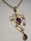 9K ROSE GOLD AMETHYST & SEED PEARLS LAVALIERE c1900