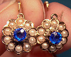 14K SAPPHIRE DOUBLET & PEARLS EARRINGS c1890