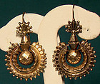 Great 12K VICTORIAN PIERCED SWINGING EARRINGS c1890