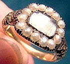 15K REMEMBRANCE or MOURNING RING w/ PEARLS c1830
