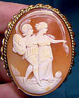 10K APHRODITE & ARES SHELL CAMEO PIN PENDANT c1920s