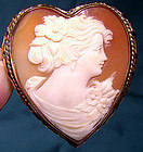 Superb GF HEART SHAPED SHELL CAMEO PIN PENDANT c1930s