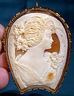 Unusual HORSESHOE SHAPE SHELL CAMEO GF SETTING c1910-20
