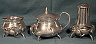 JAPANESE SILVER 3Pc. CRUET with SPIDERS & LIZARDS