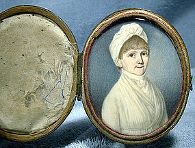 American FEDERAL Period IVORY PORTRAIT MINIATURE c1800