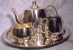 Deco Int'l STERLING TEA SET ON TRAY c1930s 4Pc