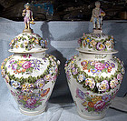 Pr. Mid-19thC. ORNATE MEISSEN-STYLE COVERED URNS