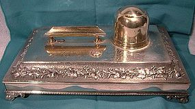 Ornate SP INK STAND w/ POT, DRAWER & PEN REST c1860