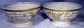 PAIR ANTIQUE DUTCH CHINA WEDDING BOWLS c1865