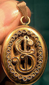 9K VICTORIAN HAIR LOCKET c1880s