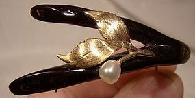 Early MING'S 14K BLACK CORAL & BAROQUE PEARL PIN