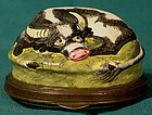 Rare BILSTON ENAMEL COW PATCHBOX with FLORAL c1770-90