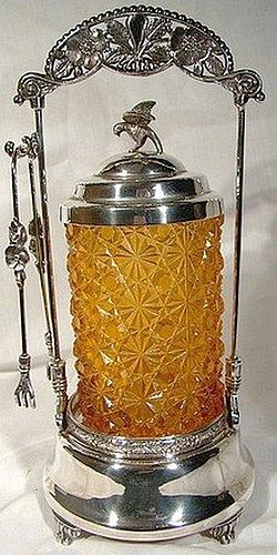 AMBER DAISY & BUTTON PICKLE CRUET w/ STAND & TONGS