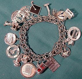 Vintage STERLING CHARM BRACELET with 19 CHARMS