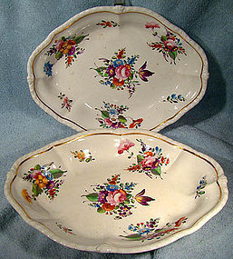 Georgian PAIR DERBY HAND PAINTED CAKE BASKETS 1800 - 1825