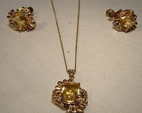 Retro 10K CITRINE PENDANT NECKLACE & EARRINGS