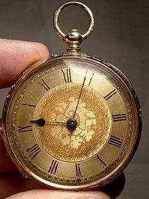 18K KEY WIND FANCY CASE OPEN FACE POCKET WATCH w/ Key