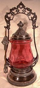 CRANBERRY THUMBPRINT PICKLE CRUET on SP STAND c1890