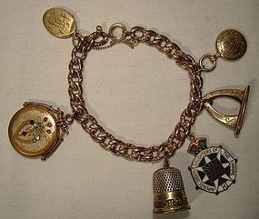 RGP WATCH CHAIN CHARM BRACELET w/ 6 ANTIQUE CHARMS