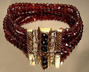 19thC DUTCH RED GLASS BRACELET w/ 14K CLASP