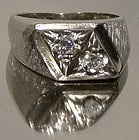 Retro Cool 14K WHITE GOLD DIAMONDS MAN'S RING c1960s