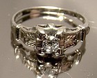Art Deco 14K WHITE GOLD DIAMOND RING c1920s