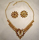 CONTINENTAL CHAMPAGNE & CINNAMON RS NECKLACE & EARRINGS