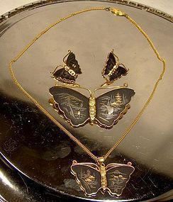 JAPAN AMITA KOMAI BUTTERFLY PIN, NECKLACE & EARRINGS