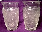 "Pair Signed LALIQUE DEAUVILLE 6"" ART GLASS VASES"