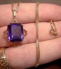 10K SYNTHETIC ALEXANDRITE PENDANT & CHAIN NECKLACE