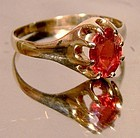 Fine 10K RHODOLITE GARNET ROSE GOLD RING c1890