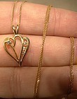 14K HEART PENDANT with DIAMONDS on CHAIN NECKLACE