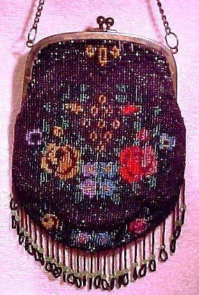 Cool 1920s German GLASS BEADED FLORAL PURSE