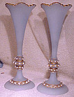 PR. BOHEMIAN ARTS & CRAFTS SATIN GLASS JEWELLED VASES