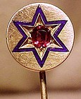 Quality 14K RHODOLITE GARNET and ENAMEL STICKPIN c1880
