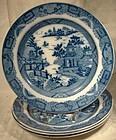 Rare Set of 4 Georgian Blue Willow Variant Plates c1800-20