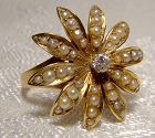 Unusual 14K SUNBURST DIAMOND & SEED PEARL RING c1900-10