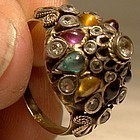 14K Dome Style Ring with Semiprecious Gemstones c1920s-30s