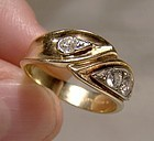 14-18K Yellow Gold Diamonds Ring - Great Style c1960s With Appraisal