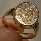 Antique 9K Gold Man's Signet Ring with Locket Top 1864