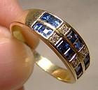 18K Sapphires & Diamonds Rows Ring 1980 18 K Custom Made Band