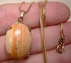 10K Scenic Agate Petrified Wood Pendant Necklace 1960s