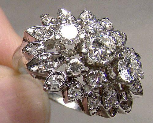 25284b6da93b9 18K White Gold Diamonds Cluster Cocktail Ring 1950s 18 K Size 6 ...