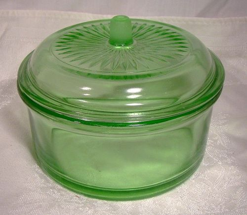 Hazel Atlas Green Depression Glass Refrigerator Storage Jar with Lid